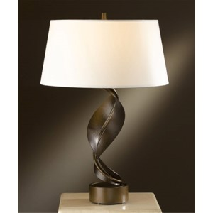 Folio Bronze One-Light Table Lamp with Natural Anna Shade