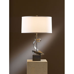 Gallery Dark Smoke 22.9-Inch One Light Table Lamp with Natural Anna Shade