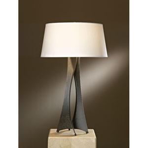 Moreau Dark Smoke One Light Table Lamp with Natural Anna Shade