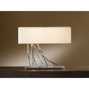 Brindille Burnished Steel Two Light Table Lamp with Natural Anna Shade