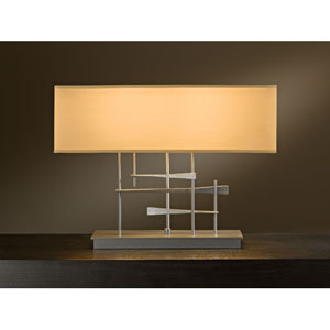 Cavaletti Burnished Steel Two Light Table Lamp with Doeskin Micro-Suede Shade