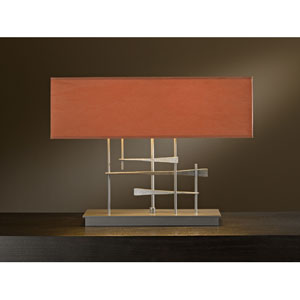 Cavaletti Burnished Steel Two Light Table Lamp with Terra Micro-Suede Shade