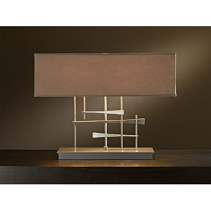 Cavaletti Burnished Steel Two Light Table Lamp with Eclipse Micro-Suede Shade