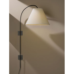 Arc Dark Smoke One Light Plug In Wall Swing Arm Sconce with Natural Linen Shade