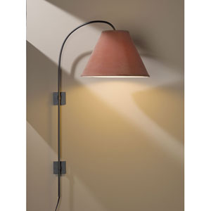 Arc Dark Smoke One Light Plug In Wall Swing Arm Sconce with Terra Micro-Suede Shade