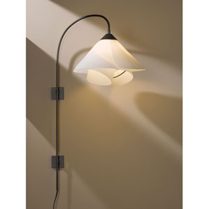 Arc Dark Smoke One Light Plug In Wall Swing Arm Sconce with Spun Frost Shade
