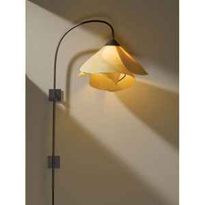 Arc Dark Smoke One Light Plug In Wall Swing Arm Sconce with Spun Amber Shade