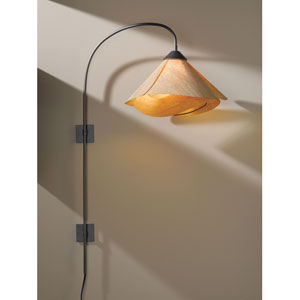 Arc Dark Smoke One Light Plug In Wall Swing Arm Sconce with Natural Cork Shade