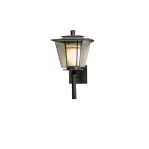 Beacon Hall Black 9-Inch One-Light Outdoor Wall Sconce with Opal and Clear Glass