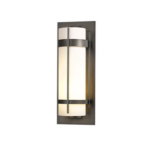 Banded Natural Iron 10-Inch One-Light Outdoor Wall Sconce with Opal Glass