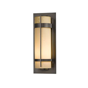 Banded Natural Iron 10-Inch One-Light Outdoor Wall Sconce with Stone Glass