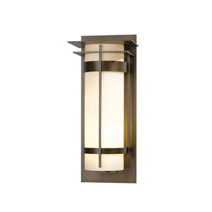 Banded Natural Iron 10.5-Inch One-Light Outdoor Wall Sconce with Opal Glass