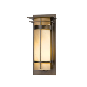 Banded Natural Iron 10.5-Inch One-Light Outdoor Wall Sconce with Stone Glass