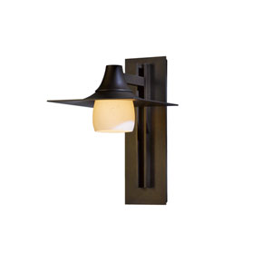 Hood Natural Iron 10-Inch One-Light Outdoor Wall Sconce with Stone Glass