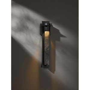 Airis Black One Light Outdoor Sconce with Heavily Forged Plate