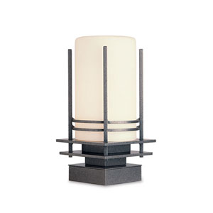 Banded Natural Iron One Light Outdoor Pier Mount with Opal Glass