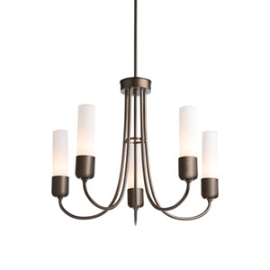 Portico Coastal Bronze Five-Light 23-Inch Outdoor Pendant with Opal Glass