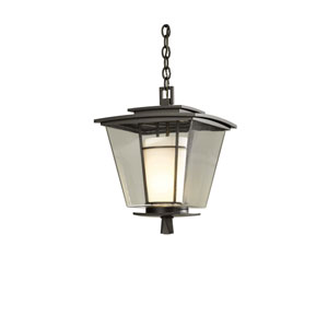Beacon Hall Natural Iron 12-Inch One-Light Outdoor Pendant with Opal and Clear Glass