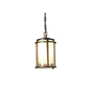 Meridian Natural Iron 7.5-Inch One-Light Outdoor Mini Pendant with Opal and Seeded Glass