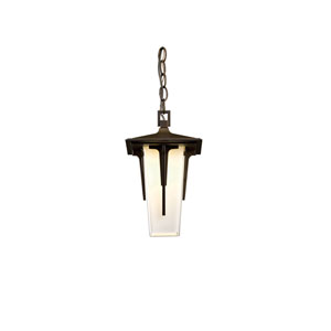 Modern Prairie Natural Iron 7.5-Inch One-Light Outdoor Mini Pendant with Opal Glass