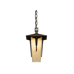 Modern Prairie Natural Iron 7.5-Inch One-Light Outdoor Mini Pendant with Stone Glass