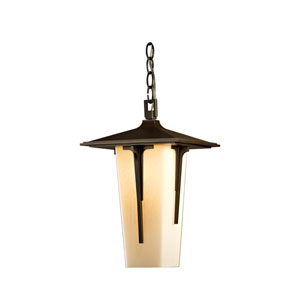 Modern Prairie Natural Iron 9.5-Inch One-Light Outdoor Mini Pendant with Opal Glass