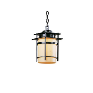 Banded Black 7.5-Inch One-Light Outdoor Mini Pendant with Stone Glass