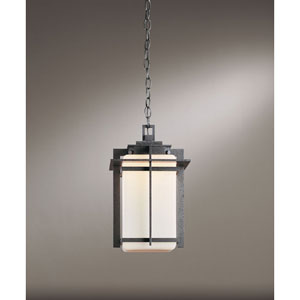 Tourou Natural Iron One Light Outdoor Hanging with Opal Glass