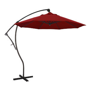 Bayside Bronze with Jockey Red Nine-Feet Sunbrella Patio Umbrella