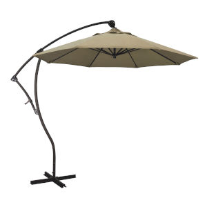 Bayside Bronze with Heather Beige Nine-Feet Sunbrella Patio Umbrella