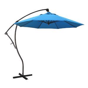 Bayside Bronze with Canvas Cyan Nine-Feet Sunbrella Patio Umbrella