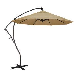 Bayside Bronze with Linen Sesame Nine-Feet Sunbrella Patio Umbrella