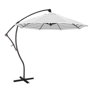 Bayside Bronze with Gray White Cabana Stripe Nine-Feet Olefin Patio Umbrella