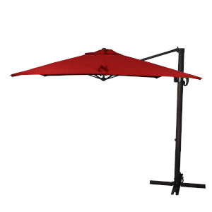 Cali Bronze with Jockey Red Nine-Feet Sunbrella Patio Umbrella