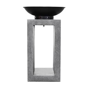Midas Fire Pedestal in Light Gray Cement