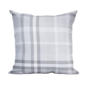 Pacifica 24-Inch Tartan Gray Throw Pillow