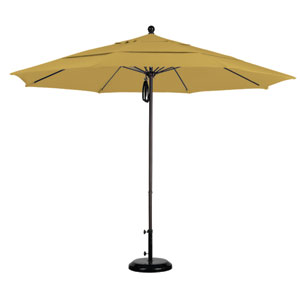 11 Foot Umbrella Fiberglass Market Pulley Open Double Vent Bronze/Sunbrella/Brass