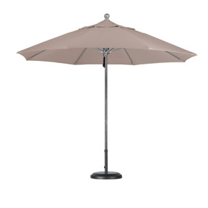 9 Foot Umbrella Fiberglass Market Pulley Open Anodized/Olefin/Champagne