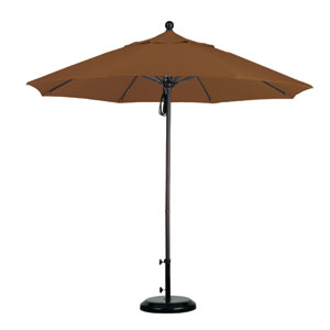 9 Foot Umbrella Fiberglass Market Pulley Open Bronze/Sunbrella/Cork