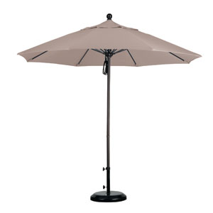 9 Foot Umbrella Fiberglass Market Pulley Open Bronze/Olefin/Champagne