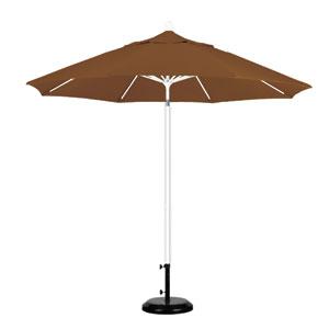 9 Foot Umbrella Fiberglass Market Pulley Open Matte White/Sunbrella/Cork