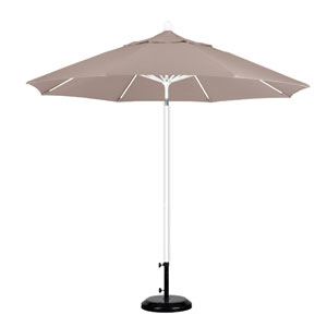 9 Foot Umbrella Fiberglass Market Pulley Open Matte White/Olefin/Champagne
