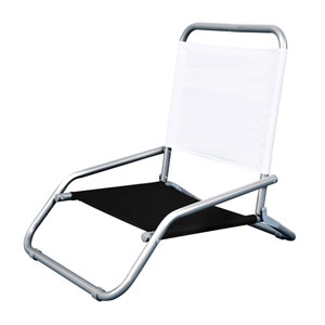 Powder-Coated Steel Frame Folding Beach Chair in White And Black