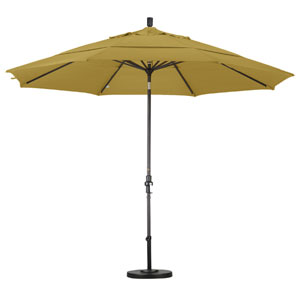 11 Foot Umbrella Aluminum Market Collar Tilt Double Vent Bronze/Sunbrella/Brass