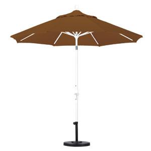9 Foot Umbrella Aluminum Market Collar Tilt - Matted White/Sunbrella/Cork