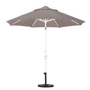 9 Foot Umbrella Aluminum Market Collar Tilt - Matted White/Olefin/Champagne