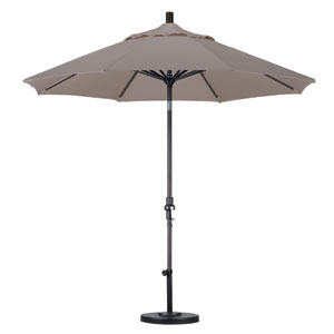 9 Foot Umbrella Aluminum Market Collar Tilt - Matted Black/Olefin/Champagne
