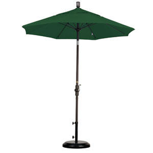 7.5 Foot Umbrella Fiberglass Market Collar Tilt - Bronze/Sunbrella/Forest Green