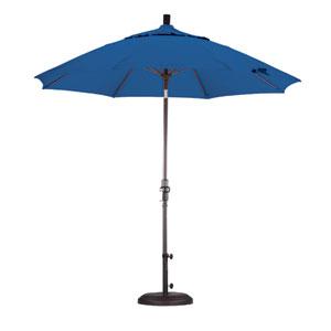 9 Foot Umbrella Fiberglass Market Collar Tilt Bronze/Sunbrella/Pacific Blue