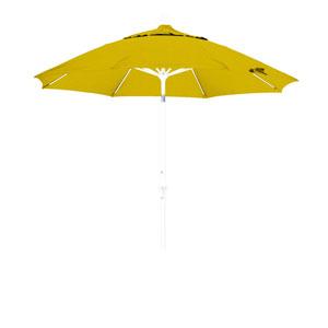 9 Foot Fiberglass Market Umbrella Collar Tilt Matte White/Sunbrella/Sunflower Yellow